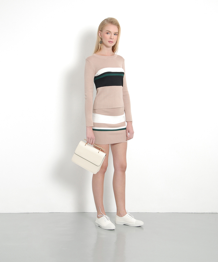 Ellery Striped Knit Set - Sand