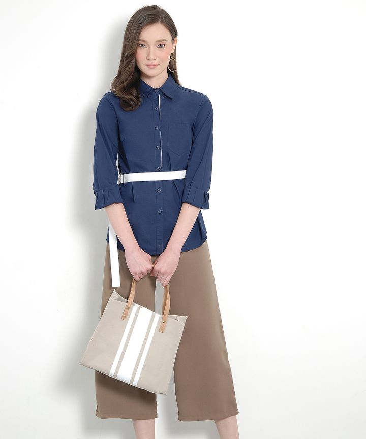 Atelier Belted Shirt - Navy