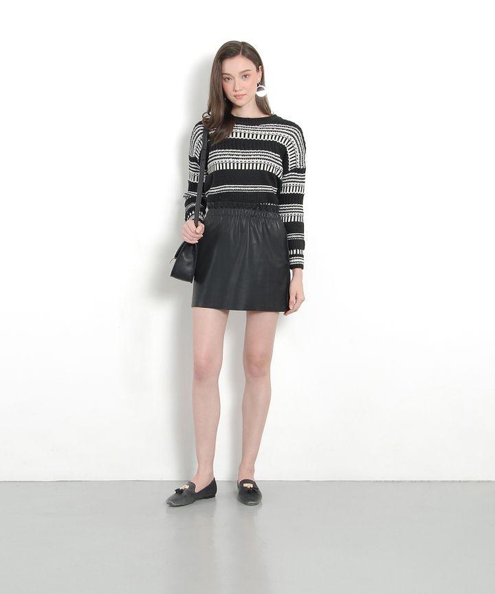 Luna Pleather Paperbag Skirt - Black