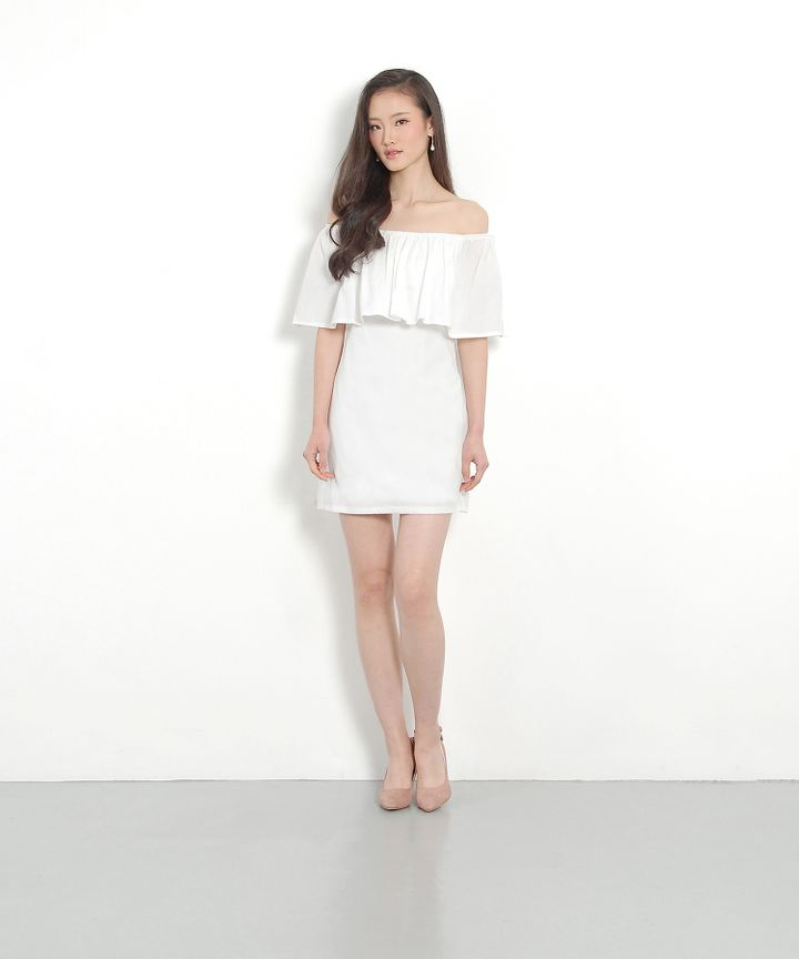 Yuri Denim Ruffle Dress - White