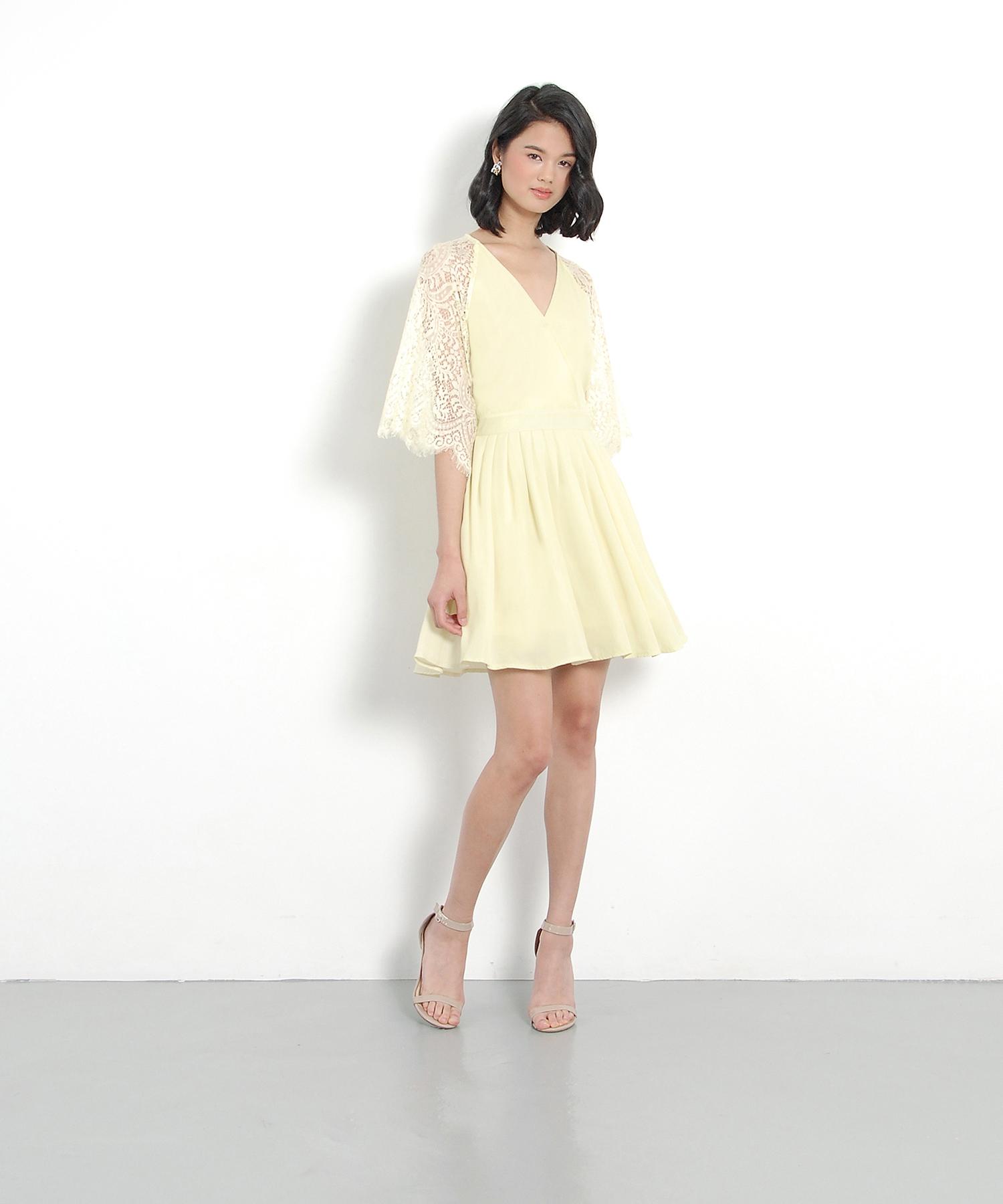 Emmeline Kimono Wrap Dress - Pale Yellow | Her Velvet Vase