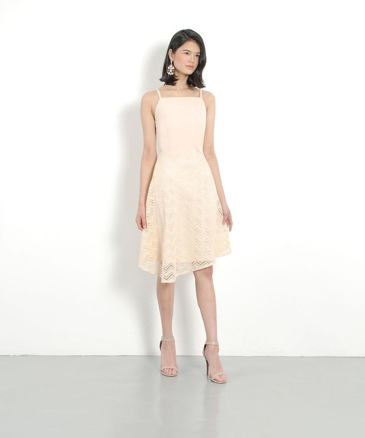 Quinn Asymmetrical Midi Dress - Nude