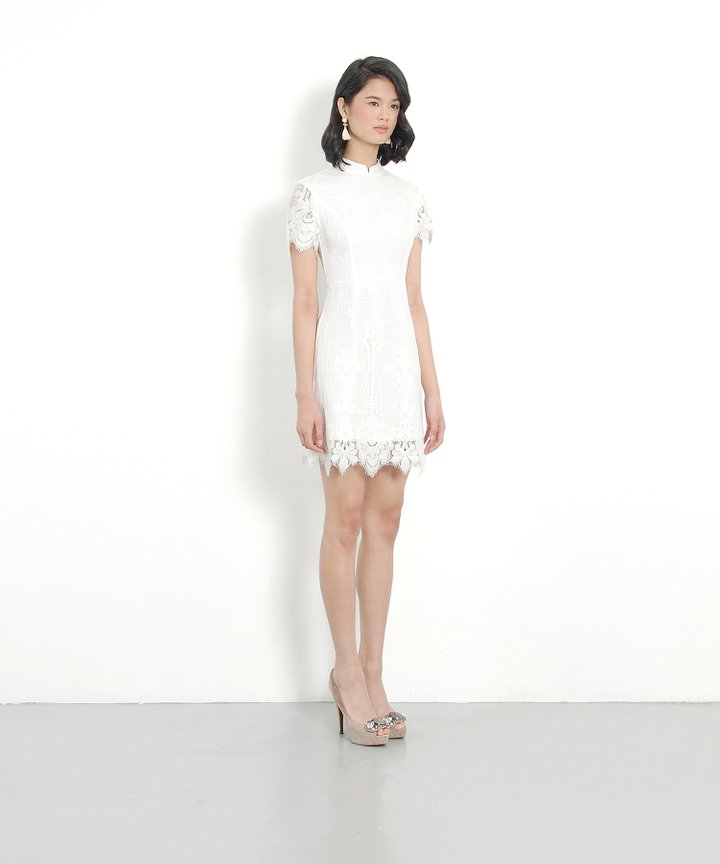 Portrait Lace Dress - White