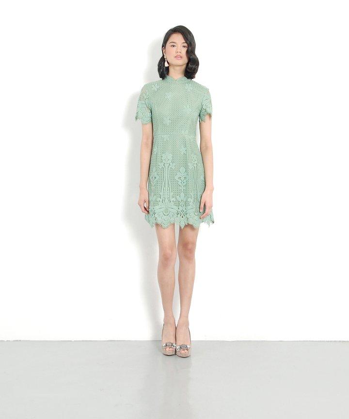 Portrait Lace Dress - Seafoam