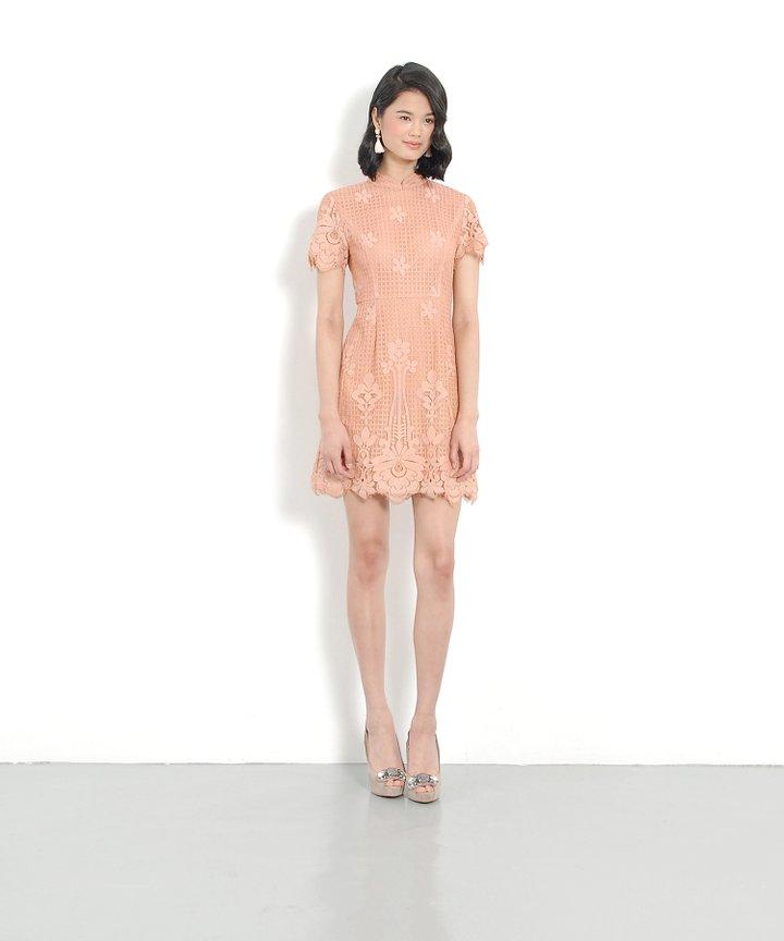 Portrait Lace Dress - Sunset Peach