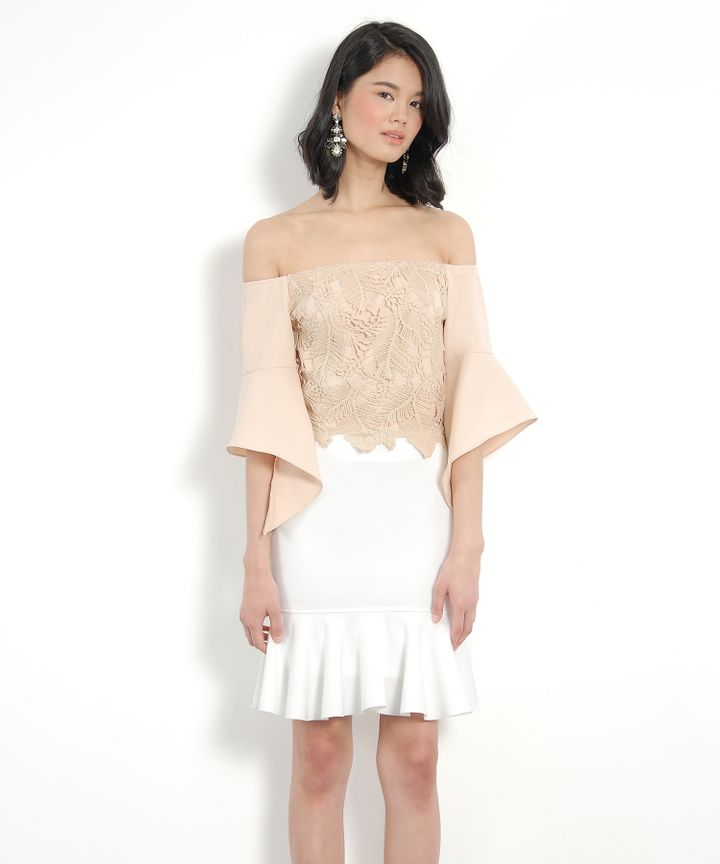 Anatasia Off-Shoulder Blouse - Nude