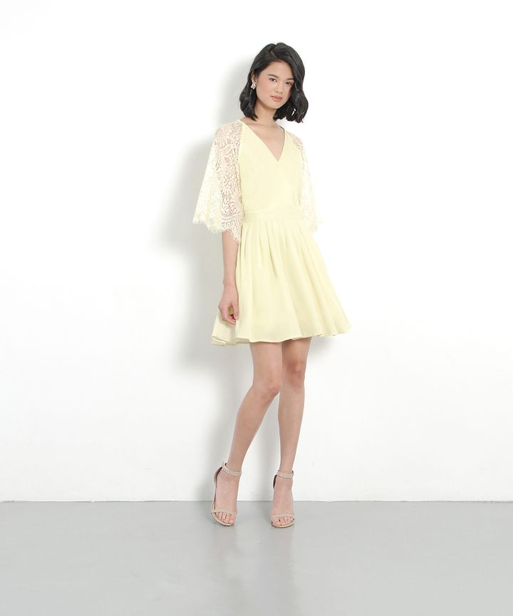 Emmeline Kimono Wrap Dress - Pale Yellow