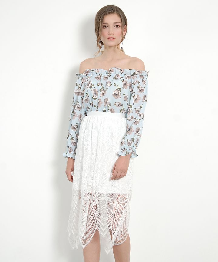 Hydrangea Lace Skirt - White