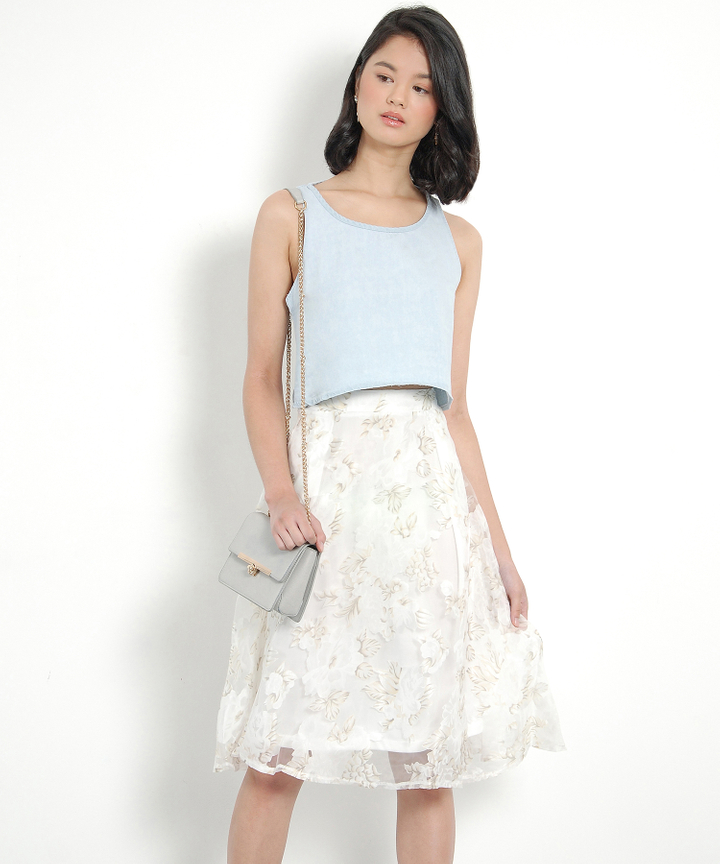 Westwood Cropped Denim Top - Pale Blue