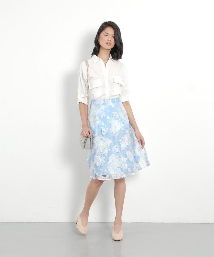 Fleur Organza Midi Skirt - Pale Blue