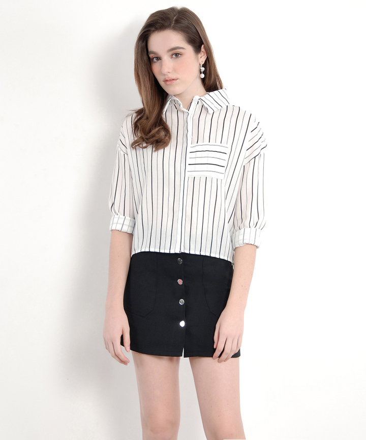 Lyre Striped Boxy Shirt - Black