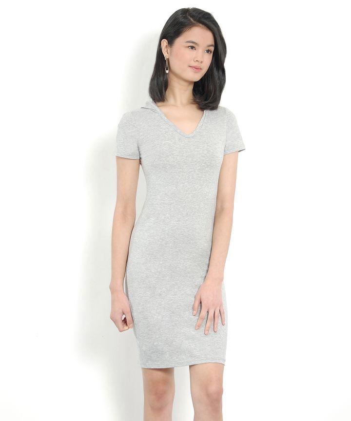 Calvin Hoodie Tee Dress - Light Grey