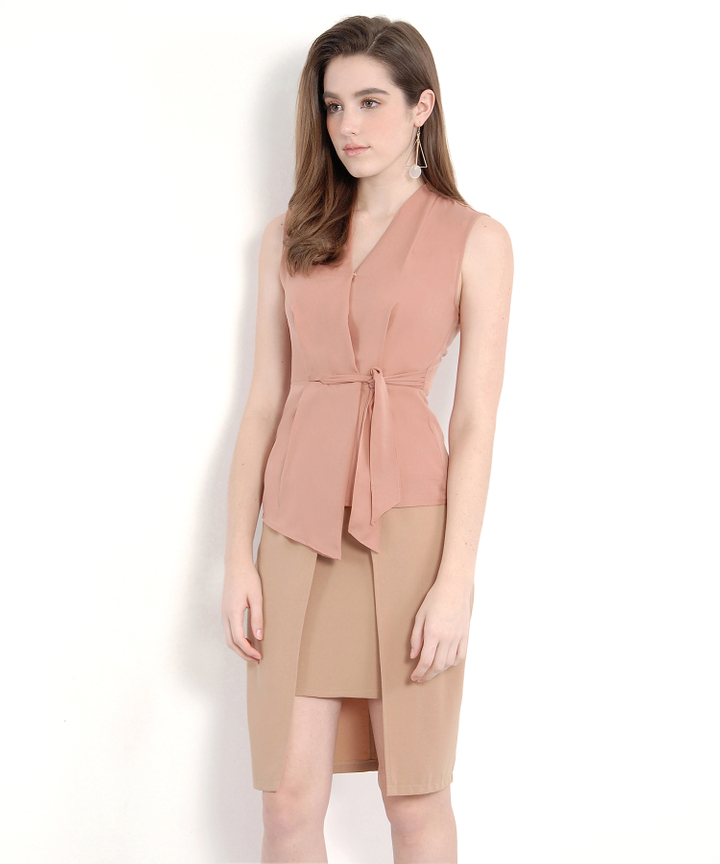 Malverne Wrap Blouse - Pale Redwood (Restock)