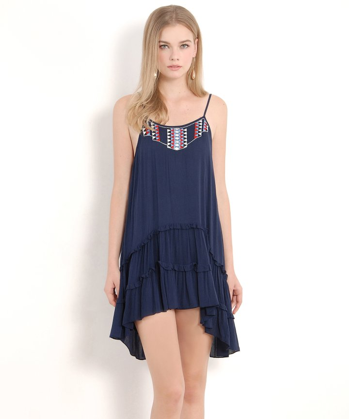 Navajo Embroidered Dress - Navy