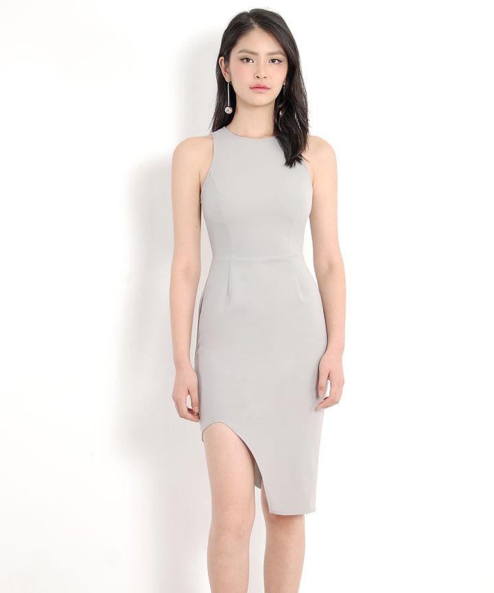 Floré Asymmetrical Dress - Pale Grey
