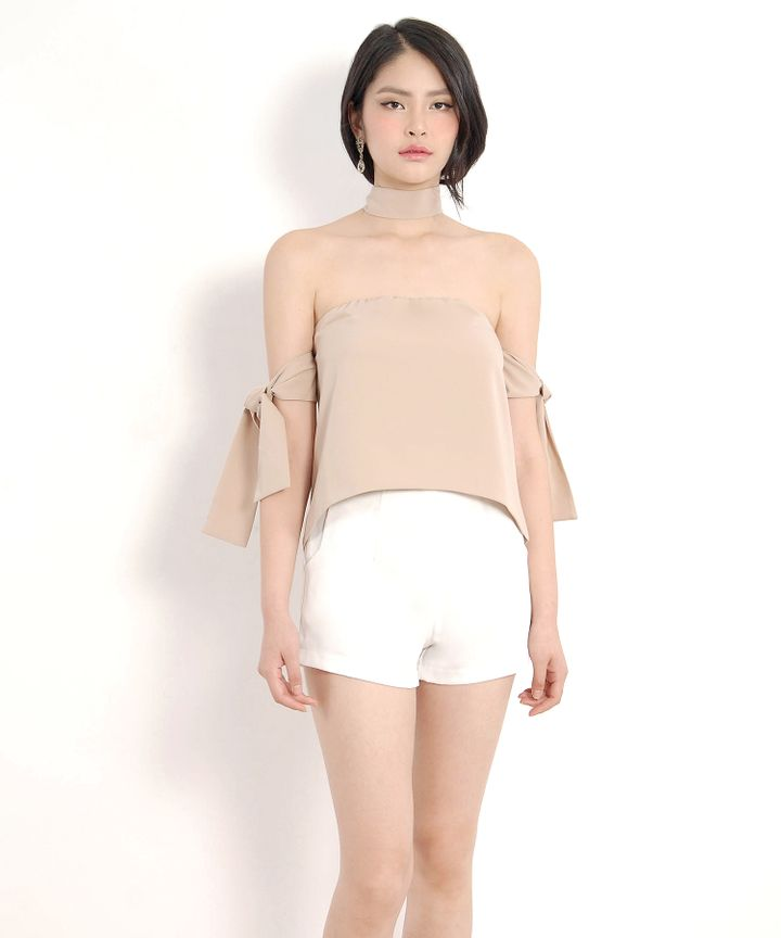 Lou Off-Shoulder Blouse - Nude