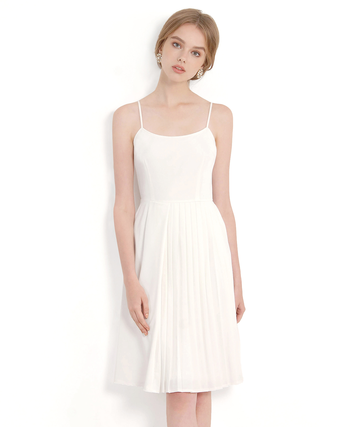 fbb6f21ef4 Isobel Pleated Midi Dress - White