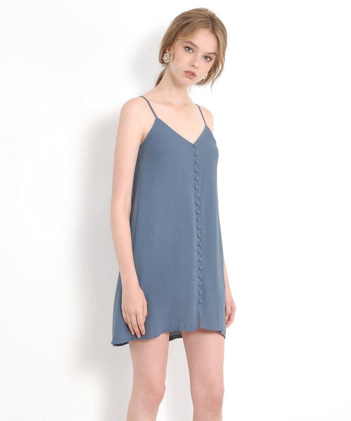 Nightingale Button Down Slip Dress - Dust Blue (Restock)