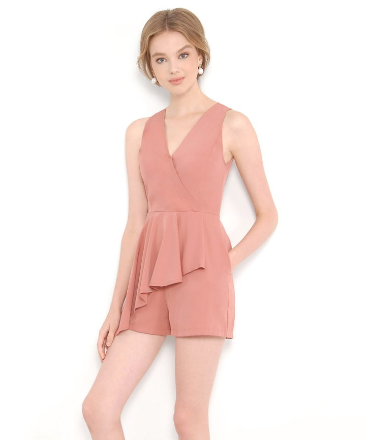 Scarlet Ruffle Playsuit - Coral Pink