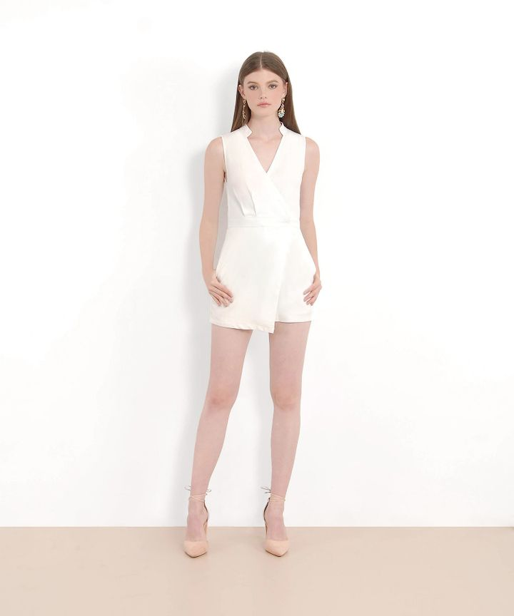 Tsu Overlay Playsuit - White