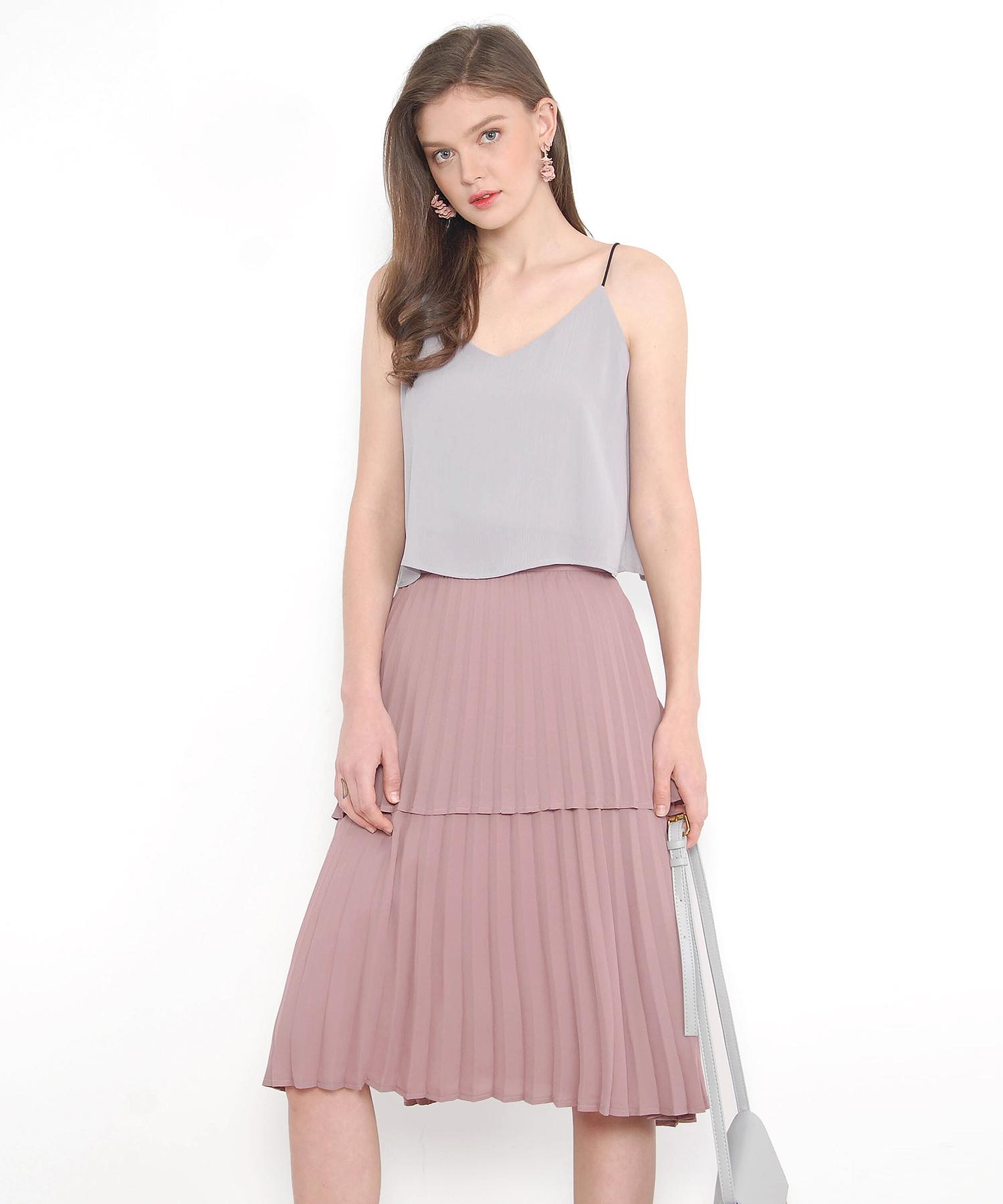 4d49bcde2 Belle Tiered Pleated Skirt - Mauve | hervelvetvase