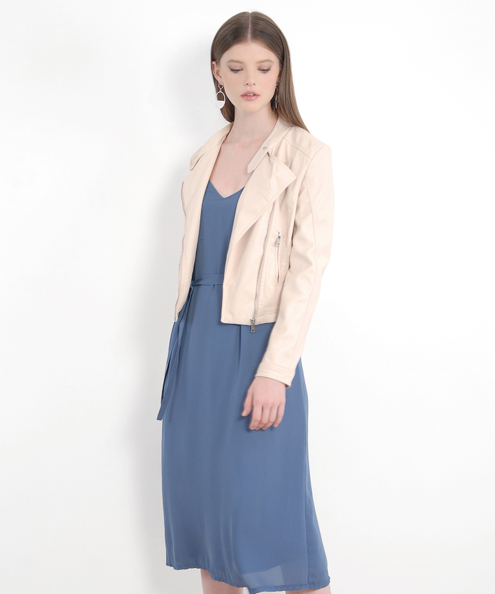 Tristan Pleather Jacket - Pale Blush