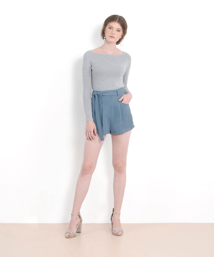 Laura Belted Shorts - Dust Blue (Restock)