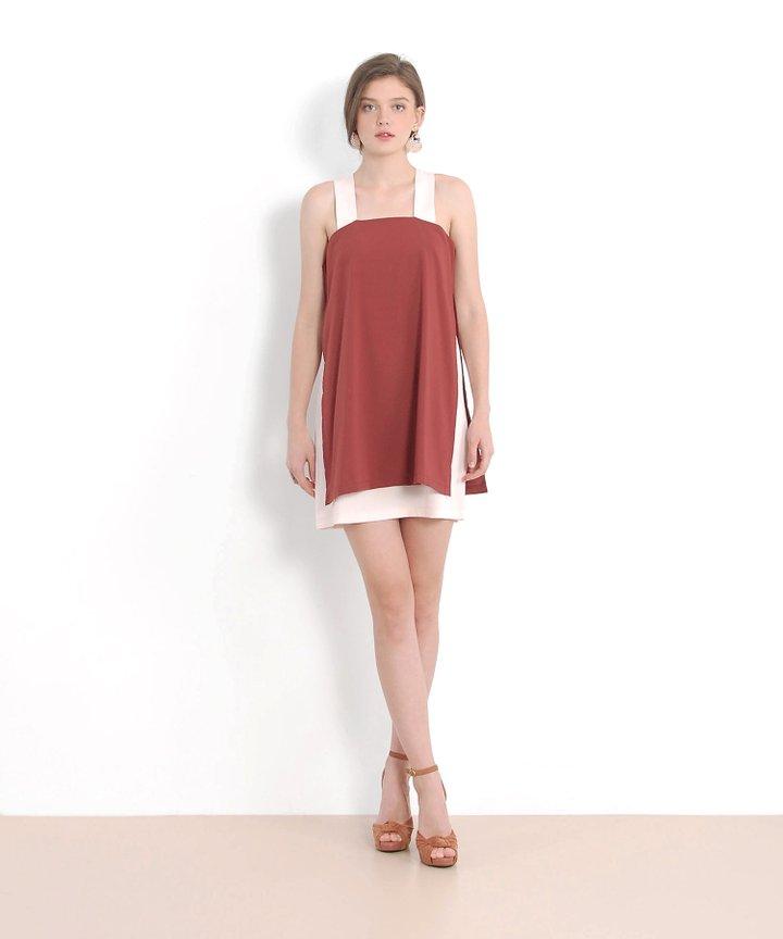 Valley Contrast Dress - Redwood