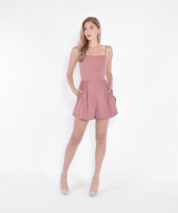 Montage Eyelet Accented Playsuit - Dust Rose