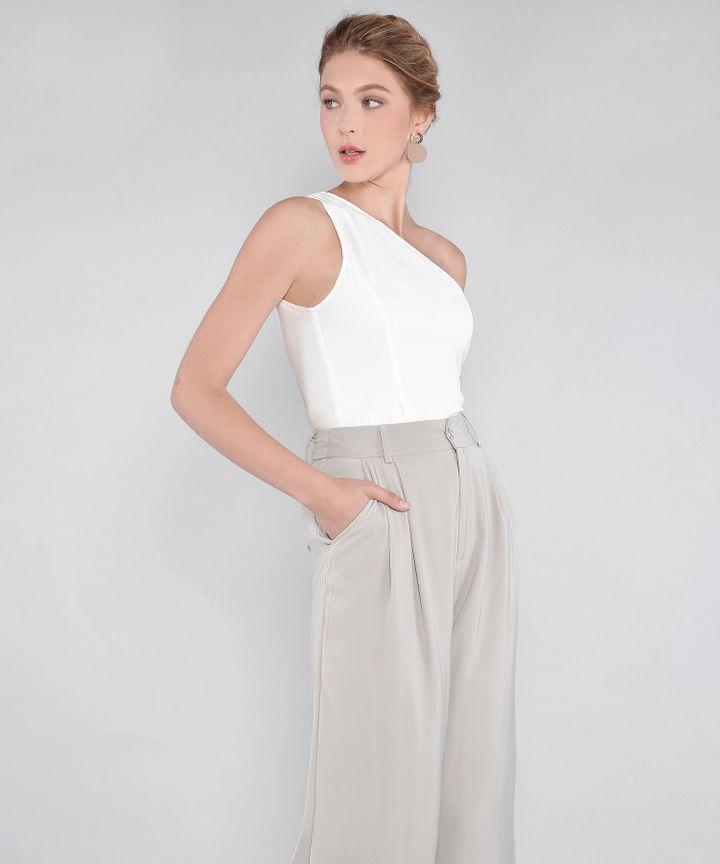 Simone Toga Peplum Top - White