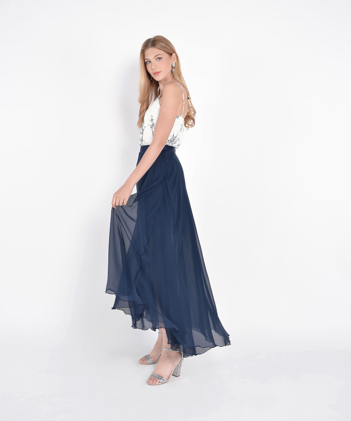 Windsor Asymmetrical Maxi Skirt - Navy