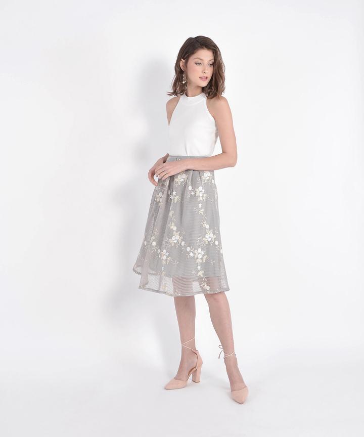 Eve Mesh Floral Skirt - Pale Grey