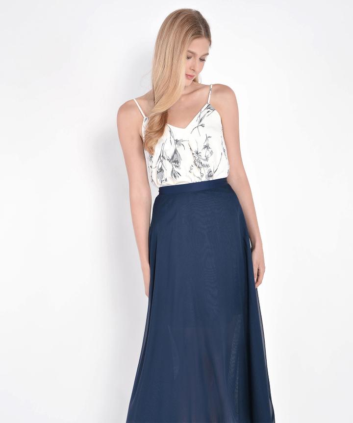 Windsor Asymmetrical Maxi Skirt - Navy