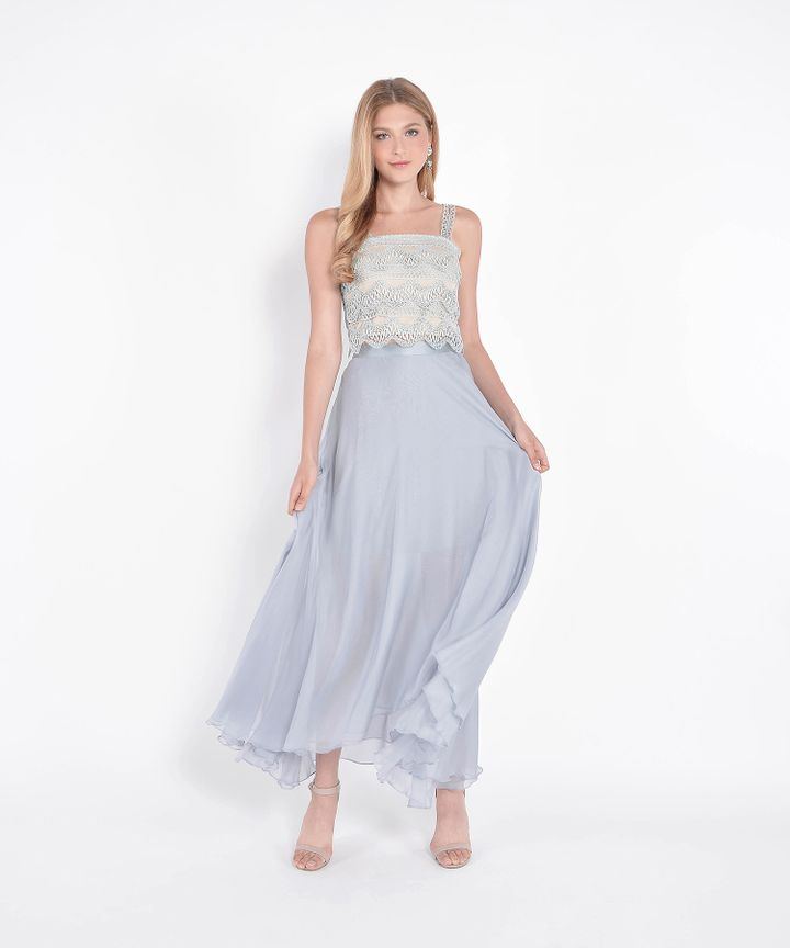Windsor Asymmetrical Maxi Skirt - Blue Grey