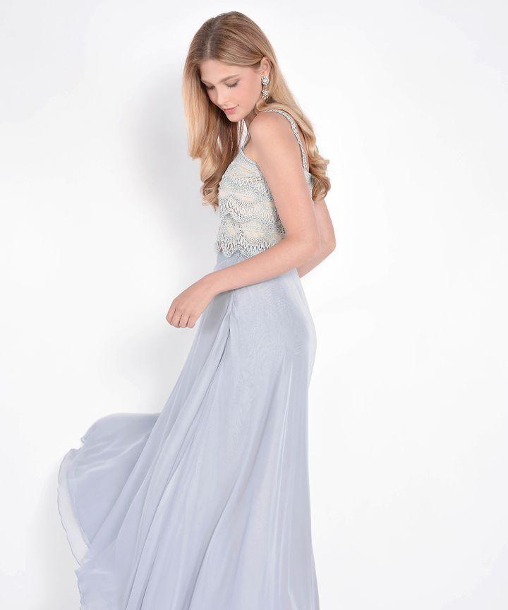 Windsor Asymmetrical Maxi Skirt - Blue Grey