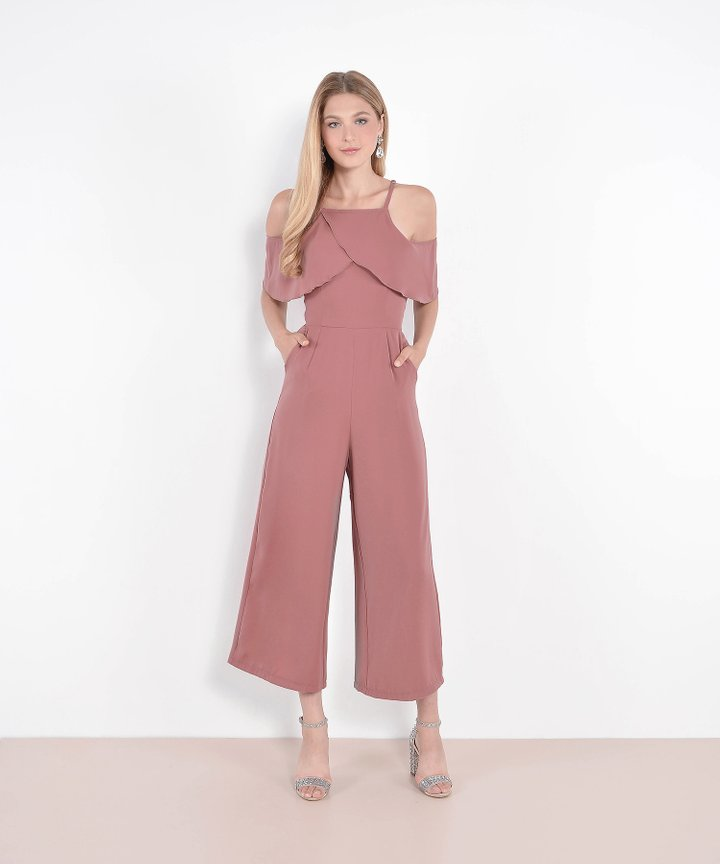 Valentina Ruffle Jumpsuit - Dust Rose