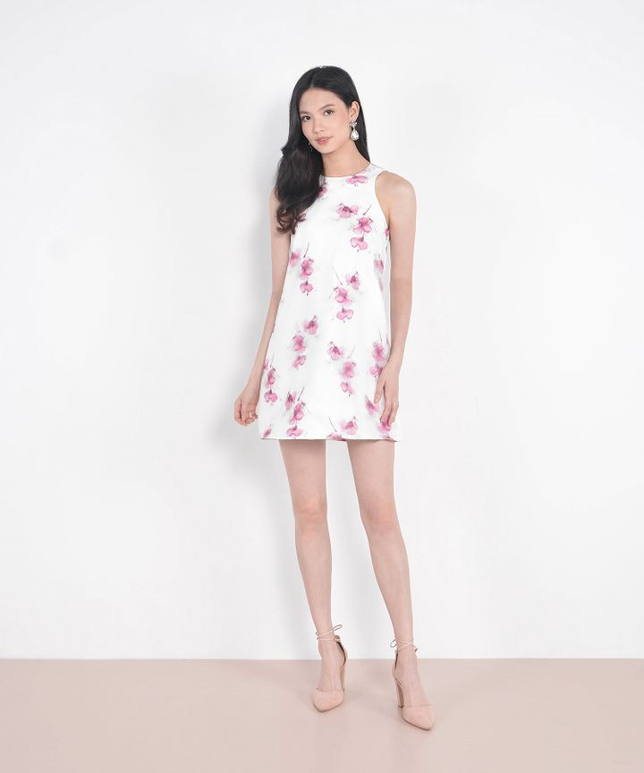 Cherie Floral Organza Shift Dress - Pink