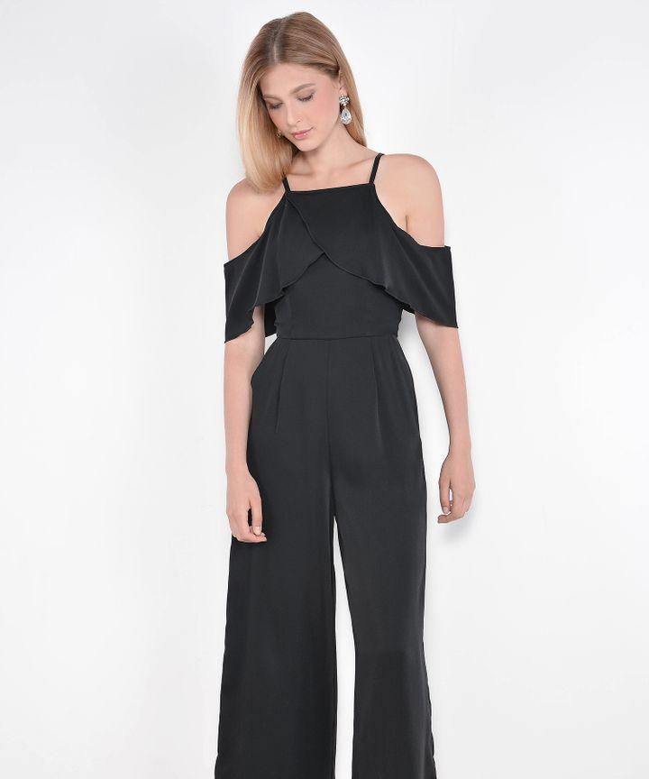 Valentina Ruffle Jumpsuit - Black