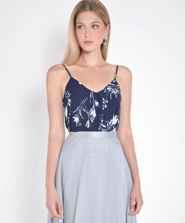 Petal Floral Asymmetrical Top - Navy
