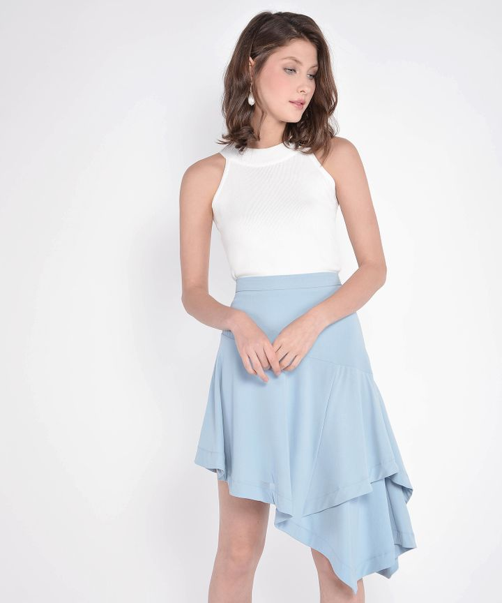 Lourdes Asymmetrical Skirt - Pale Blue