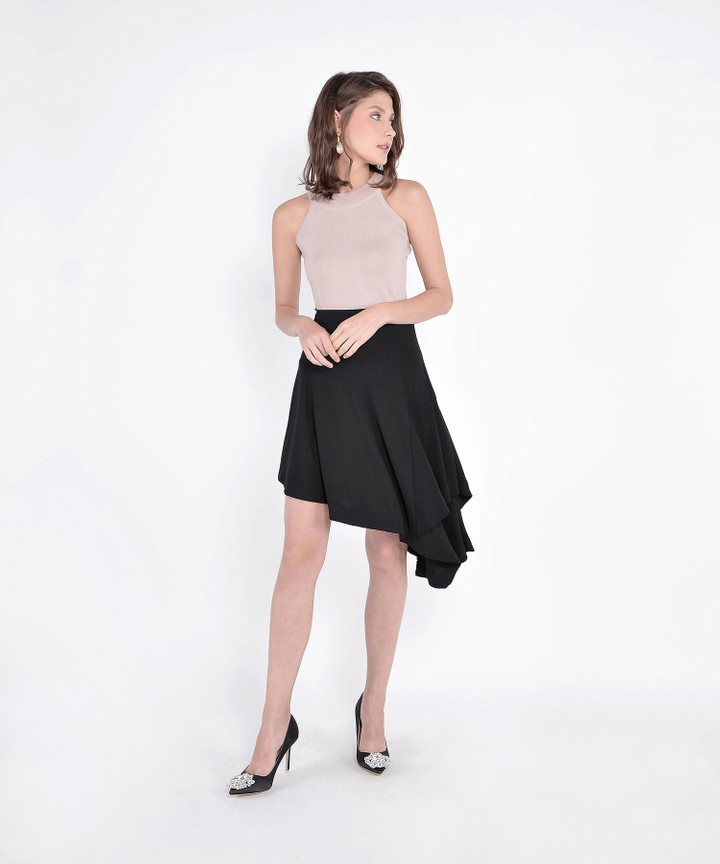 Lourdes Asymmetrical Skirt - Black