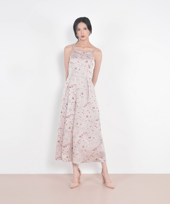 Yolanda Floral Jumpsuit - Pearl Pink