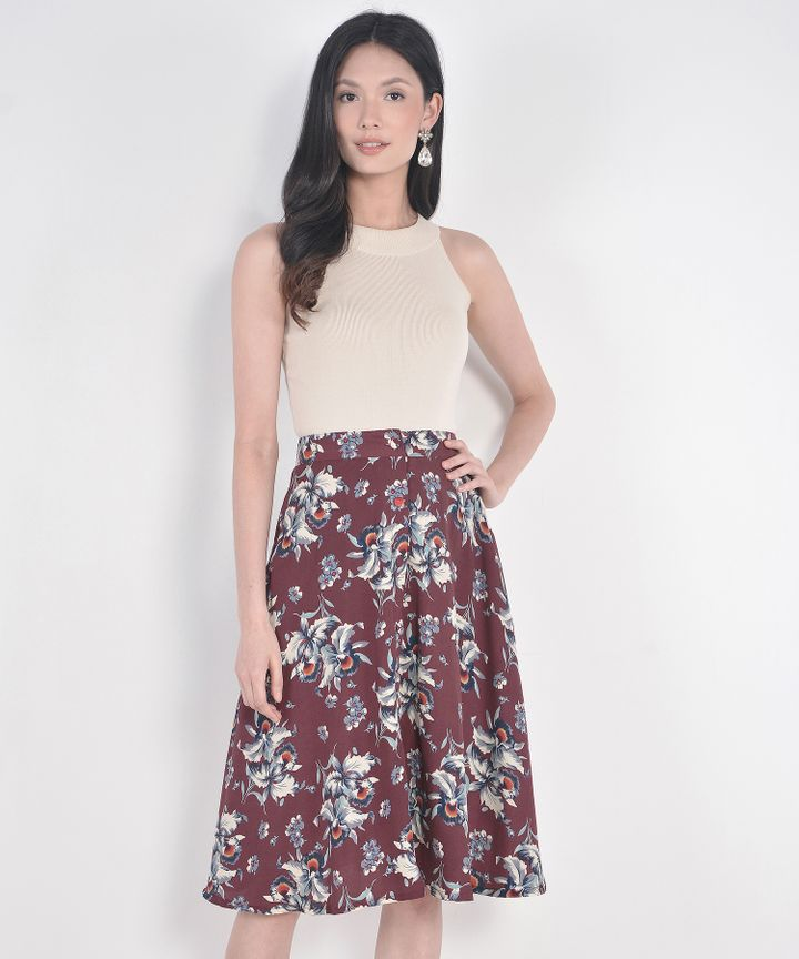 Heather Floral Midi Skirt - Maroon