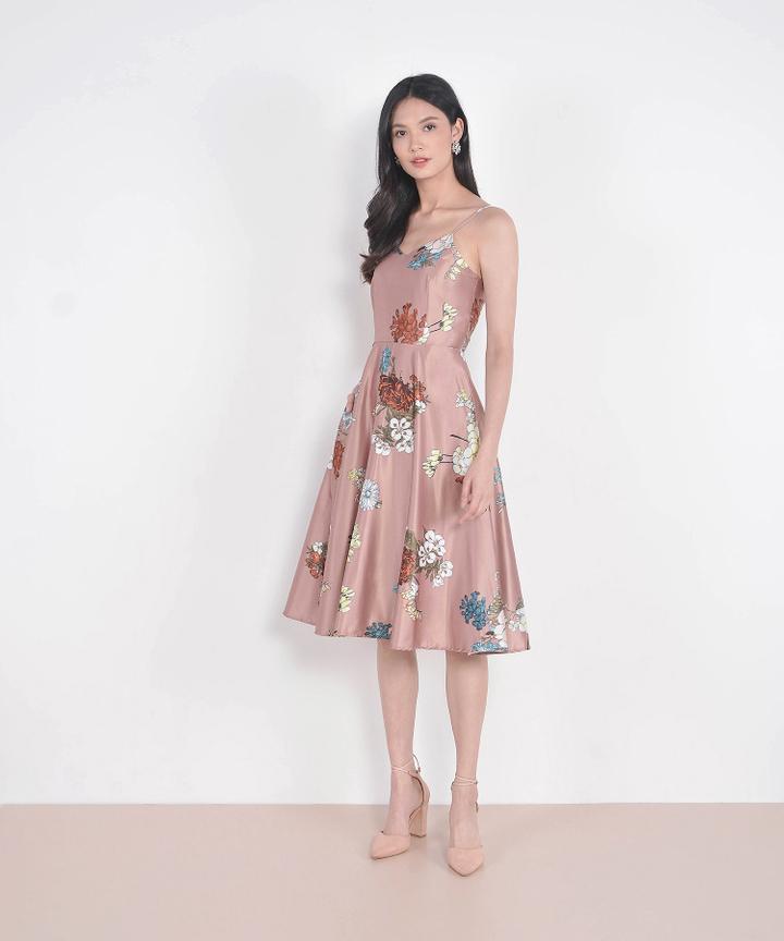 Estrella Floral Satin Midi - Rose