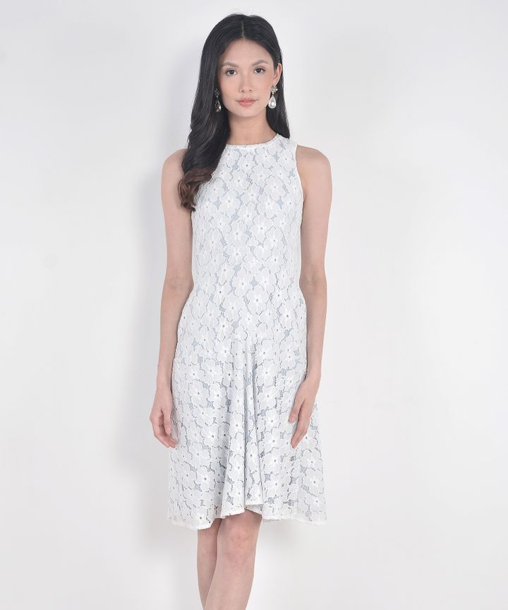 Delancey Lace Midi Dress- Pale Blue