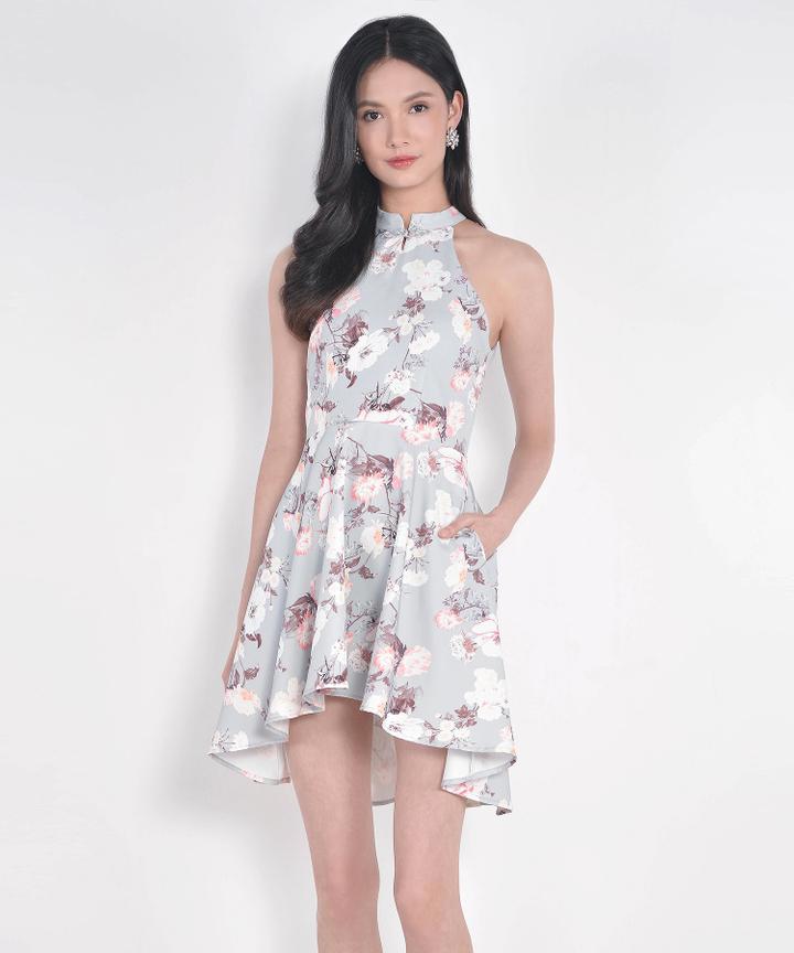 Renaissance Asymmetrical Dress - Blue Grey