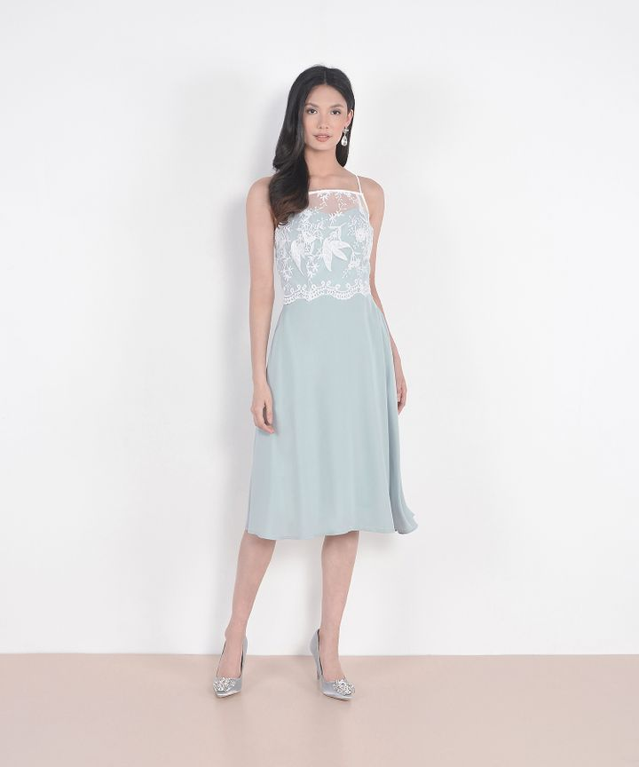 Isabelle Lace Overlay Midi Dress - Pale Mint