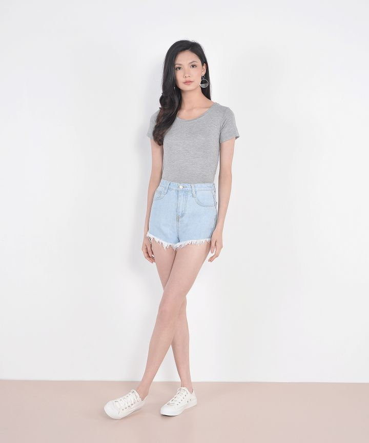 Crew Cropped Cotton Tee - Pale Grey