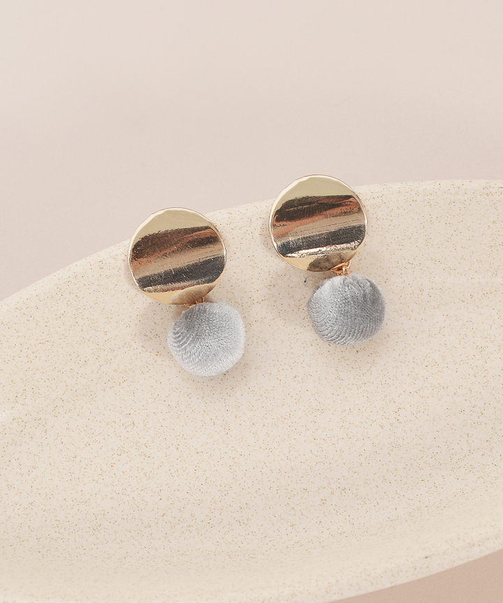 Stud Furry Earrings - Grey
