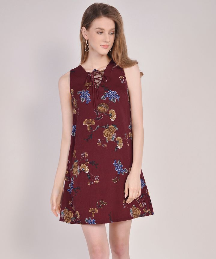 Vintage Floral Lace Up Dress - Wine